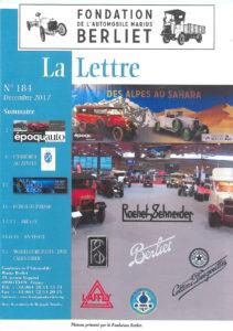 Extrait de La Lettre #184 de décembre 2017, revue de la Fondation de l'automobile Marius Berliet